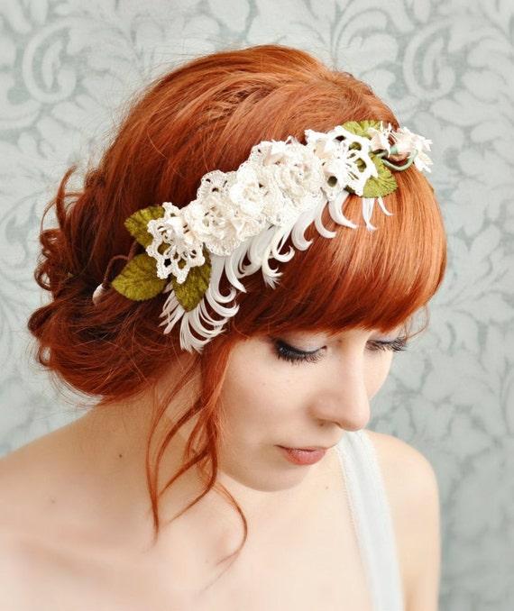 Wedding headband, vintage head piece, lace crown, wedding hair accessories - Audrey