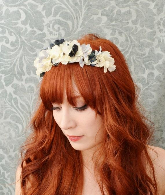 Bridal hair accessory, wedding flower headband, ivory floral head piece - Catherine's nocturne
