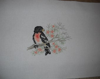 "Completed Stoney Creek cross stitch "" Rosy Breasted Grosbeak """