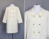 Vintage Jacket Coat 60s Light Spring or Fall 1960s Swing Coat in Ivory or Creme Moire Silk Look