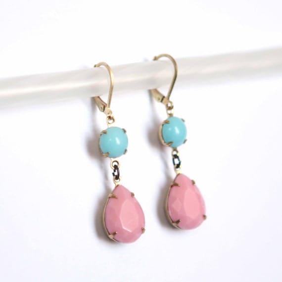 Vintage Glass Earrings Handmade Estate Style Long Earrings Pink and Blue
