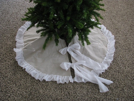Rustic frill christmas tree skirt by shabbyfrills on etsy