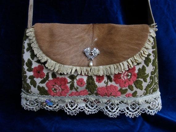 Vintage Velvet  Chenille and Cowhide Shoulder bag , Purse, roses
