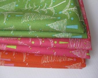 Cloth Napkins - Christmas Trees -  Orange or Pink
