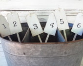 Set of 6 rustic chic table tag numbers