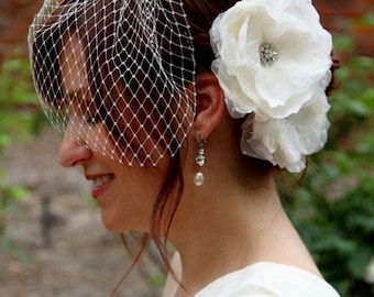 Amelia-Birdcage Veil and Dotted Tulle Double Ivory Hair Flower Set