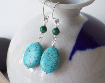 Robin Magnesite Turquoise Earrings with Malachite beads - Gift Ideas For Her