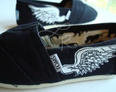 Already painted and ready to fly away-wings-hand painted on TOMS shoes-womens size 6 toms shoes