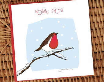 Little robin on a branch illustrated Christmas card **FREE SHIPPING**