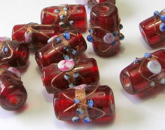 Large Deep Red Glass Cylindrical Wedding Cake Beads