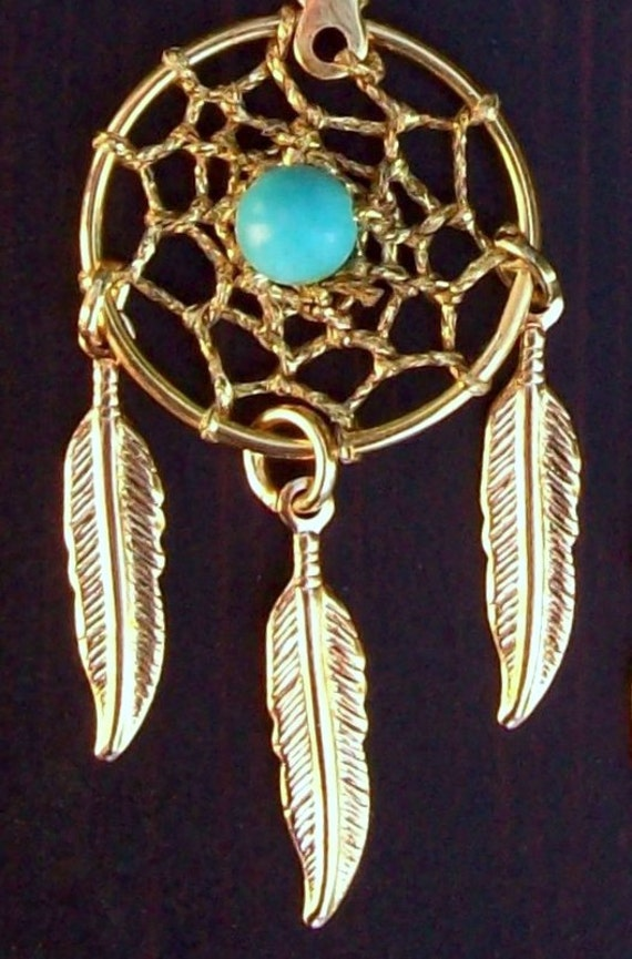 Sun and Sky ll -  Gold,Turquoise dream catcher necklace