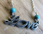 Silver Love Necklsce With Turquoise Beads