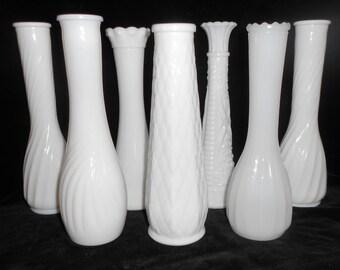 7  Vintage Milk  Glass Bud Vases Instant Collection