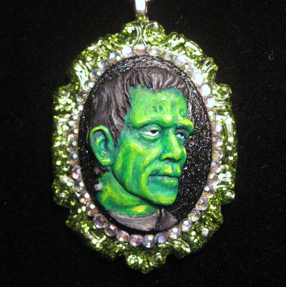 Frankenstein Monster  Hand Painted Cameo with rhinestones