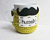 Huzzah Mustache funny coffee mug cozy tea cup chartreuse white black crochet handmade cover