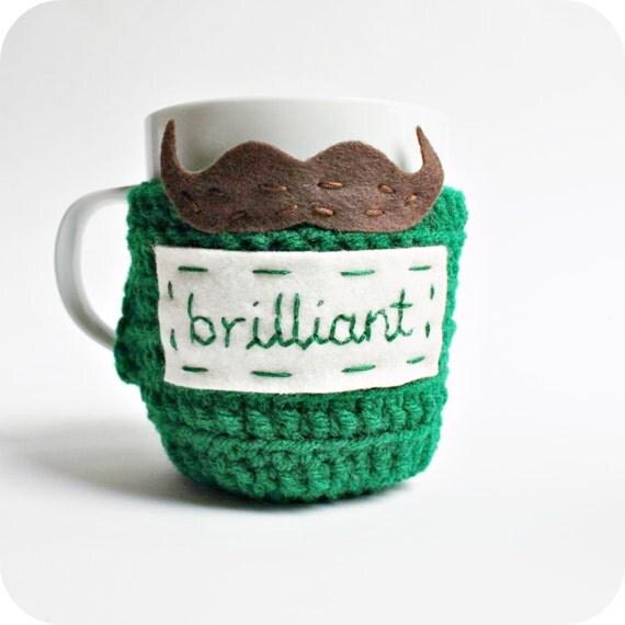 Brilliant Mustache funny coffee cozy mug cozy tea cup green brown crochet handmade cover