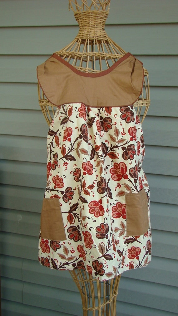Fall Flower Smock Apron Fully Lined