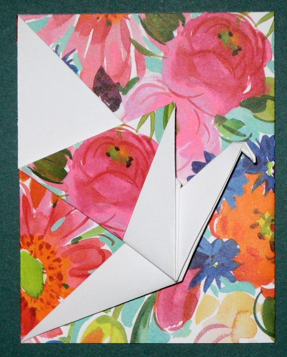 Origami Crane Tri-fold Greeting Card - Garden Flower Pattern