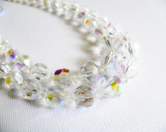Vintage 1950s AB Glass Beaded Double Strand Necklace and Earrings