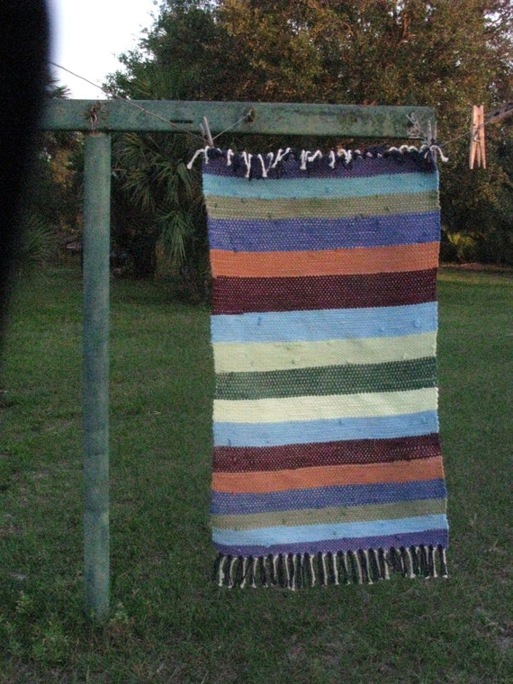 Multi Color Hand Woven Rag Rug Recycled Tees Folk Western Primitive Rustic Home Decor