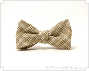 Earth Tone Plaid Freestyle Bow Tie