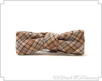 Skinny Tan and Gray Plaid Freestyle Bow Tie