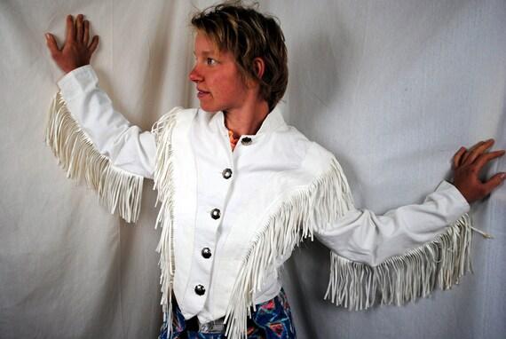 Vintage 90s White Fringe VEGAN Jacket