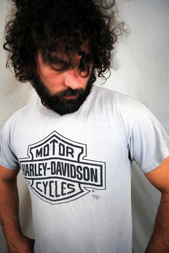 Vintage 1990 DISTRESSED Harley Davidson Motorcycle Tee Shirt