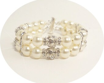 2 Strand  Bracelet, Ivory Bracelet, Ivory, Double Strand, Bridal Accessories, Mother of the Bride, Wedding, Dressy,Glitz,  Pearl Bracelet