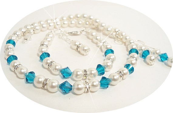 Girl Necklace, Bracelet and Earrings Set, Turquoise and Pearl, Flower Girl, Dressy, Blue Zircon