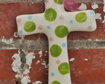 Personalized Ceramic Green and Pink Dot Cross makes Great Baptism Gift, Christening Gift, or Confirmation Gift