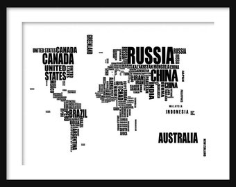 World Map - Typographical Map - Text Map