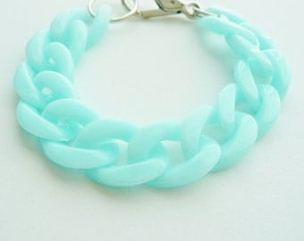 Chunky Pastel Mint Cable Chain Bracelet
