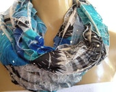 Blue sparkly infinity scarf-Shades of Bora Bora ruffled infinity scarf Flamenco Necklace scarf  Slightly sequined cowl, circle loop scarf