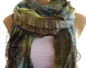 Shimmery OlivesTie dye super long ruffle scarf Tube scarf Winter Holiday fashion- Flamenco superstar