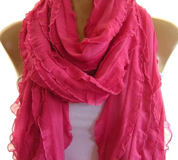 Lipstick Pink Super long Ruffle scarf