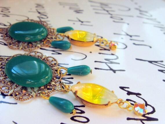 Vintage Jade Green Glass Chandelier Earrings - Holiday Chandelier Earrings in Jade Green and Sunshine Yellow