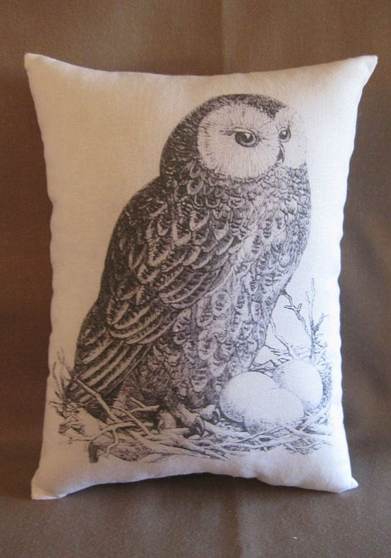 Owl, French country, Pillow, White