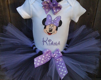 Custom boutique monogrammed personalized minnie mouse birthday tutu set purple  & Black