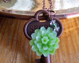 Secret Garden Green Key Necklace Antique Copper Romantic