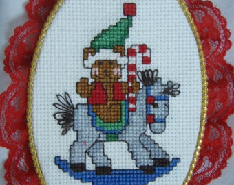 Cross Stitched  BEAR on ROCKING HORSE ornament