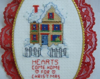Cross Stitched  WINTER HOME for CHRISTMAS ornament