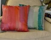 Original, Watercolor Painting, Printed Fabric Pillows- Handmade
