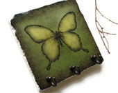 Butterfly Art Key Hook, Nature Green Butterfly Wall Decor, Key Rack, Home Organization, Key Holder, Wall Hooks (22)