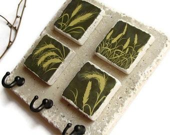 Wheat Grass Wall Key Holder, Key Rack, Grass Tassels Silhouette Art, Key Hook Organizer, Country Decor, Nature Art