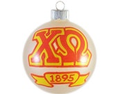 Handpainted Chi Omega Frosted Glass Ornament Ready to Ship