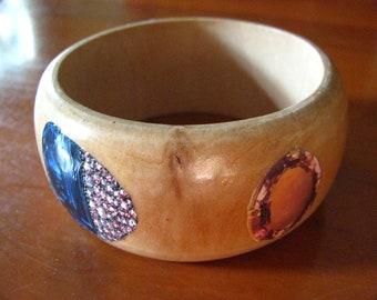 Precious Gemstone Woooden Bangle Bracelet with Faux Sapphires, Diamonds, Amethyst