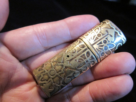 Fancy Victorian etched brass USB drive