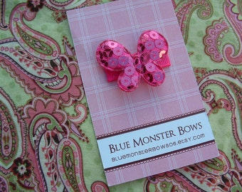 ONE DOLLAR CLIP Bright Pink Glitter Butterfly Baby Snap Clip No Slip Baby Bow