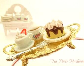 Tea Party Headband, photo prop headband ,birthday tea party hat, Hair Accessory miniature cake teapot  and tea cup